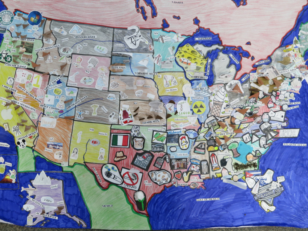 8th Grade Cultural Geography Project The Saklan School - Cultural-map-of-the-us